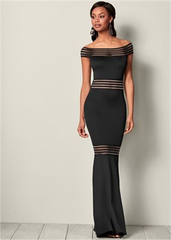 Платье Mesh Detail Long